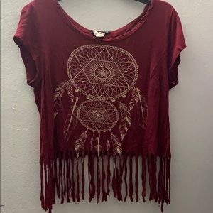 579 Burgundy dream catcher boho crop top